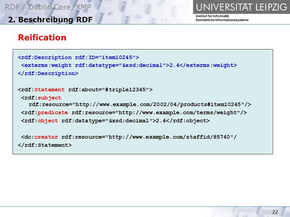 RDF / Dublin Core, XMP Institut für Informatik Betriebliche Informationssysteme 22 2. Beschreibung RDF Reification 2.4 2.4 <dc:creator rdf:resource=