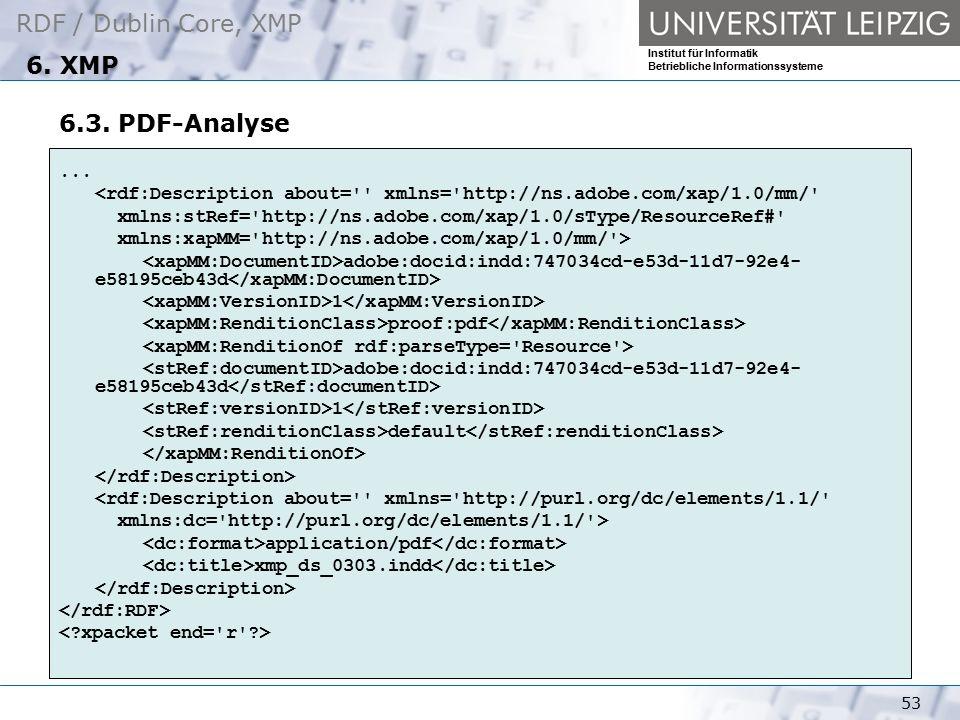RDF / Dublin Core, XMP Institut für Informatik Betriebliche Informationssysteme 53 6. XMP 6.3. PDF-Analyse... <rdf:Description about='' xmlns='http://