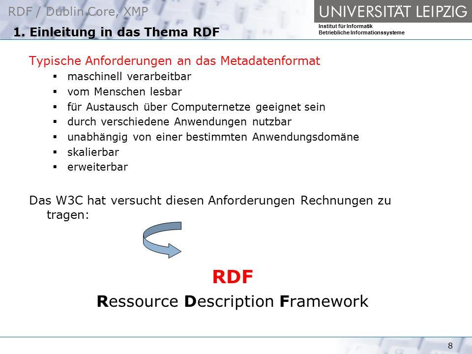RDF / Dublin Core, XMP Institut für Informatik Betriebliche Informationssysteme 8 1. Einleitung in das Thema RDF Typische Anforderungen an das Metadat