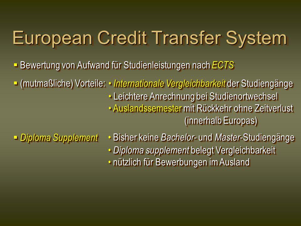 European Credit Transfer System  Bewertung von Aufwand für Studienleistungen nach ECTS  (mutmaßliche) Vorteile:  Diploma Supplement  Bewertung von