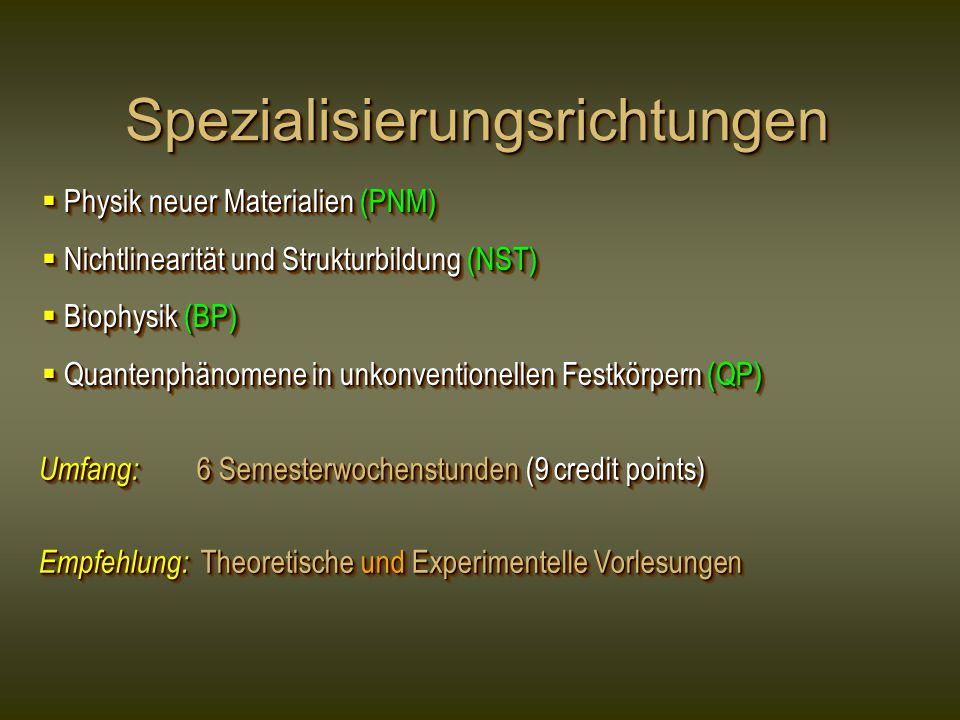SpezialisierungsrichtungenSpezialisierungsrichtungen  Physik neuer Materialien (PNM)  Nichtlinearität und Strukturbildung (NST)  Biophysik (BP)  Q