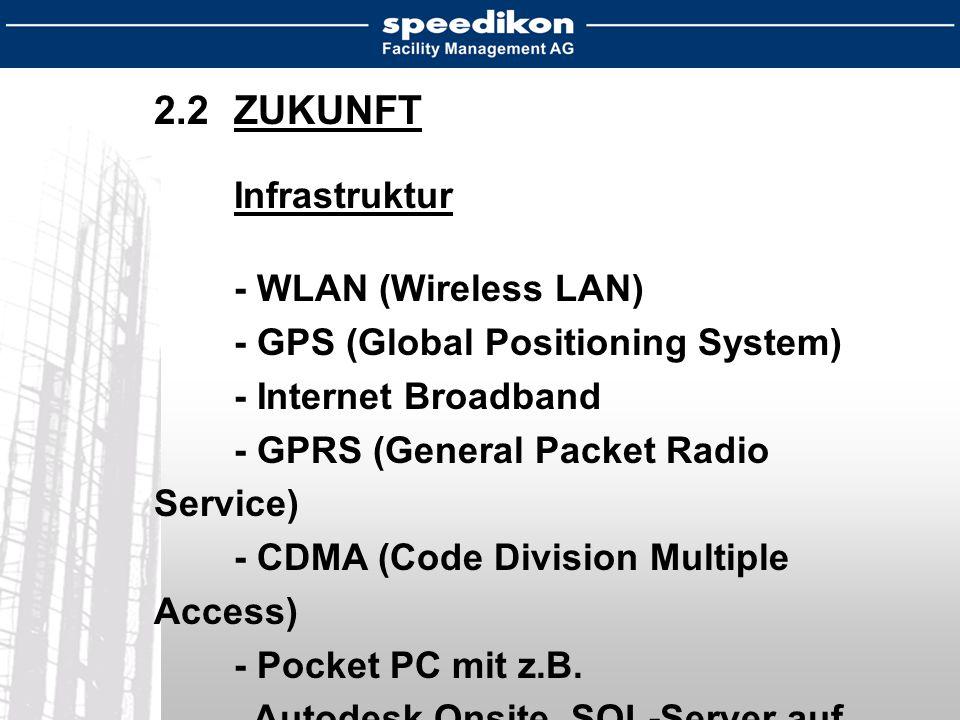 2.2ZUKUNFT Infrastruktur - WLAN (Wireless LAN) - GPS (Global Positioning System) - Internet Broadband - GPRS (General Packet Radio Service) - CDMA (Code Division Multiple Access) - Pocket PC mit z.B.