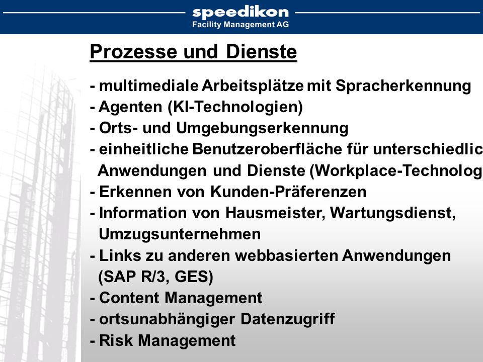 Prozesse und Dienste - multimediale Arbeitsplätze mit Spracherkennung - Agenten (KI-Technologien) - Orts- und Umgebungserkennung - einheitliche Benutzeroberfläche für unterschiedliche Anwendungen und Dienste (Workplace-Technologie) - Erkennen von Kunden-Präferenzen - Information von Hausmeister, Wartungsdienst, Umzugsunternehmen - Links zu anderen webbasierten Anwendungen (SAP R/3, GES) - Content Management - ortsunabhängiger Datenzugriff - Risk Management