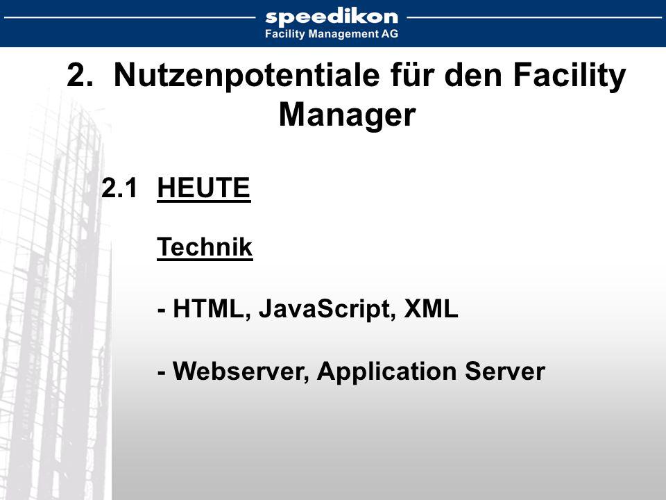2. Nutzenpotentiale für den Facility Manager 2.1HEUTE Technik - HTML, JavaScript, XML - Webserver, Application Server
