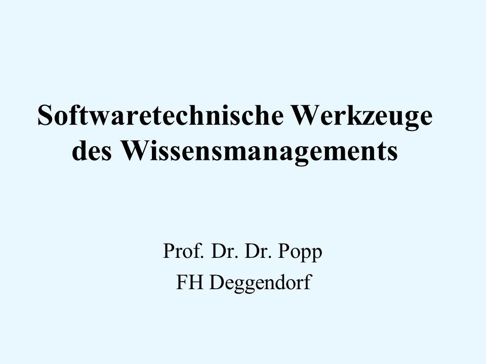 Softwaretechnische Werkzeuge des Wissensmanagements Prof. Dr. Dr. Popp FH Deggendorf