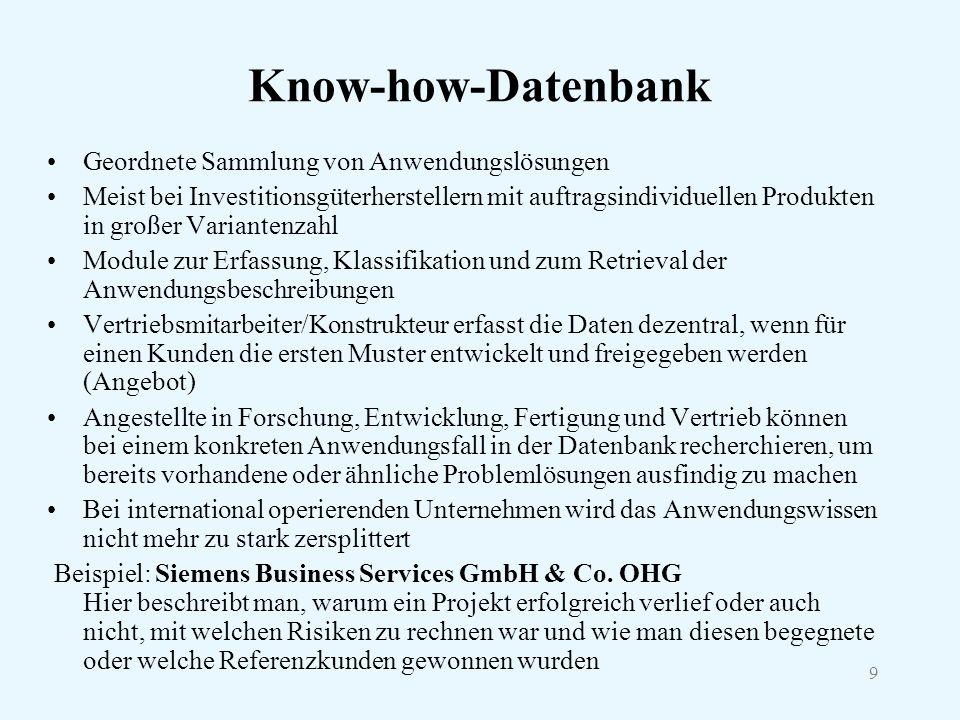 9 Know-how-Datenbank Geordnete Sammlung von Anwendungslösungen Meist bei Investitionsgüterherstellern mit auftragsindividuellen Produkten in großer Va
