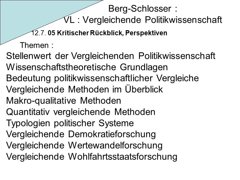 Berg-Schlosser : VL : Vergleichende Politikwissenschaft 12.7.
