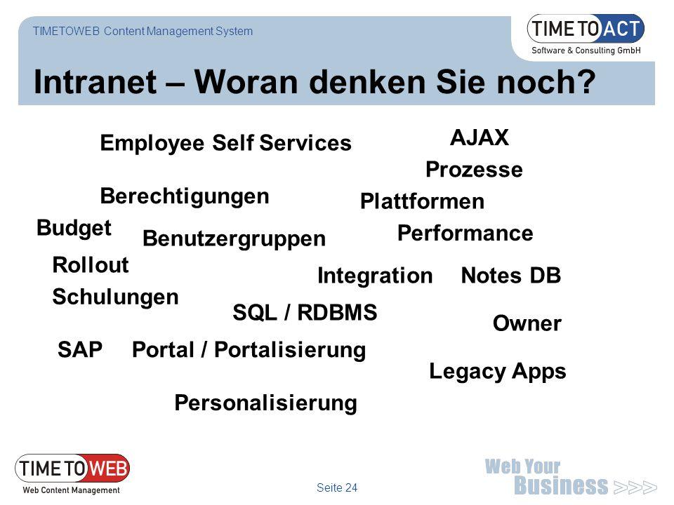 Seite 24 Intranet – Woran denken Sie noch? TIMETOWEB Content Management System Employee Self Services Prozesse Schulungen Rollout Performance Legacy A