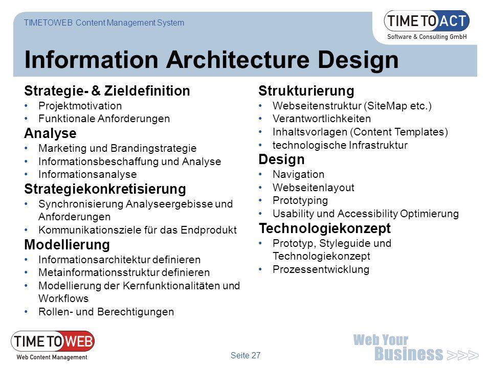 Seite 27 Information Architecture Design Strategie- & Zieldefinition Projektmotivation Funktionale Anforderungen Analyse Marketing und Brandingstrateg