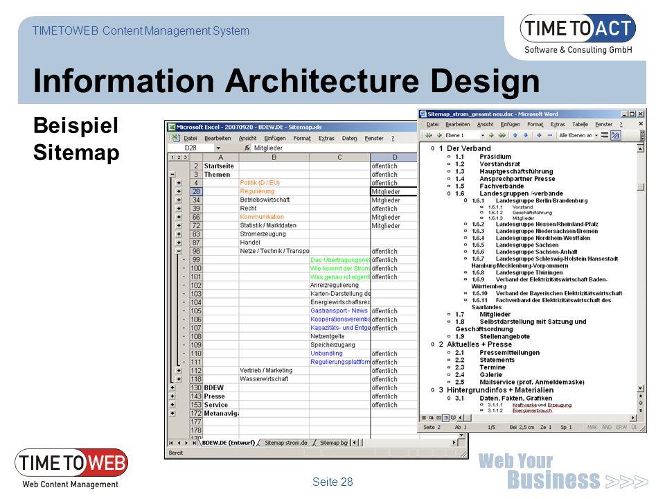Seite 28 Information Architecture Design Beispiel Sitemap TIMETOWEB Content Management System