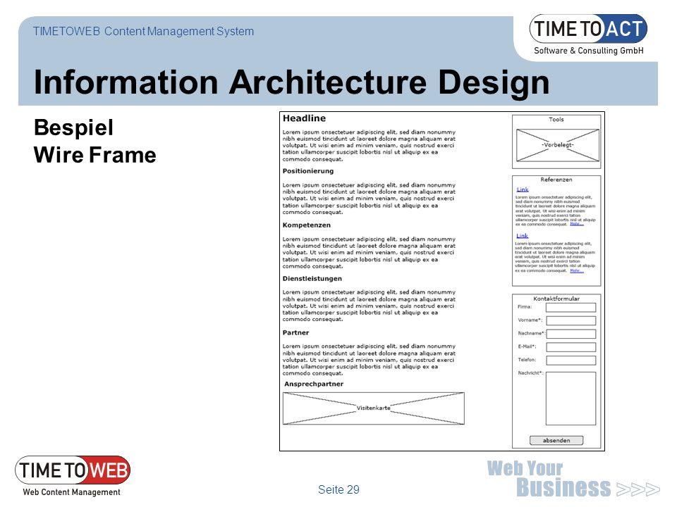Seite 29 Information Architecture Design Bespiel Wire Frame TIMETOWEB Content Management System