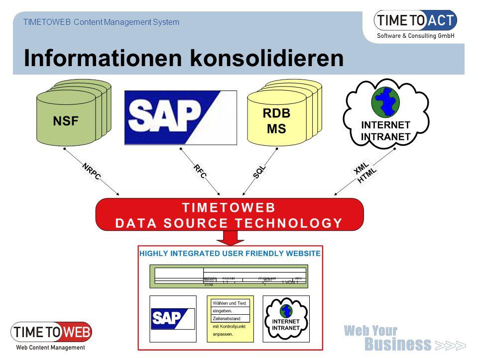 Seite 32 Informationen konsolidieren TIMETOWEB Content Management System