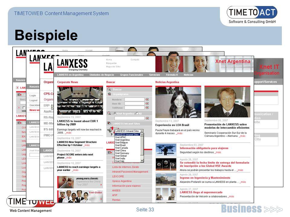 Seite 33 Beispiele TIMETOWEB Content Management System