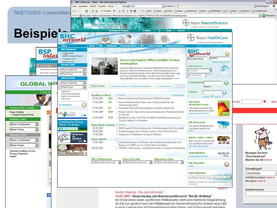 Seite 34 Beispiele TIMETOWEB Content Management System