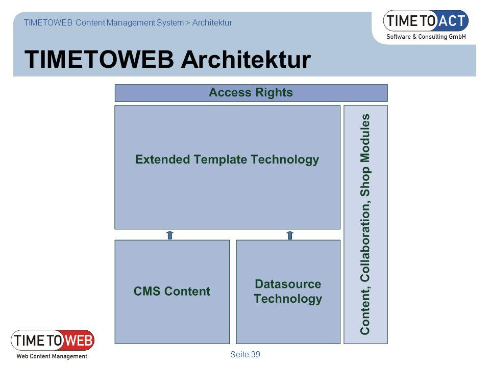 Seite 39 TIMETOWEB Architektur TIMETOWEB Content Management System > Architektur