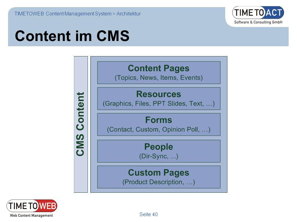 Seite 40 Content im CMS TIMETOWEB Content Management System > Architektur