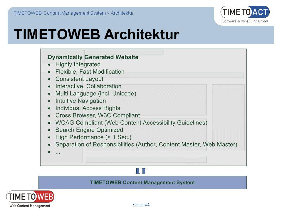 Seite 44 TIMETOWEB Architektur TIMETOWEB Content Management System > Architektur