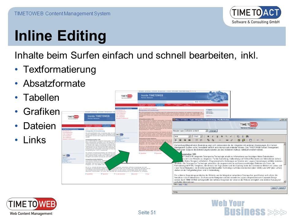 Seite 51 Inline Editing Inhalte beim Surfen einfach und schnell bearbeiten, inkl. Textformatierung Absatzformate Tabellen Grafiken Dateien Links TIMET