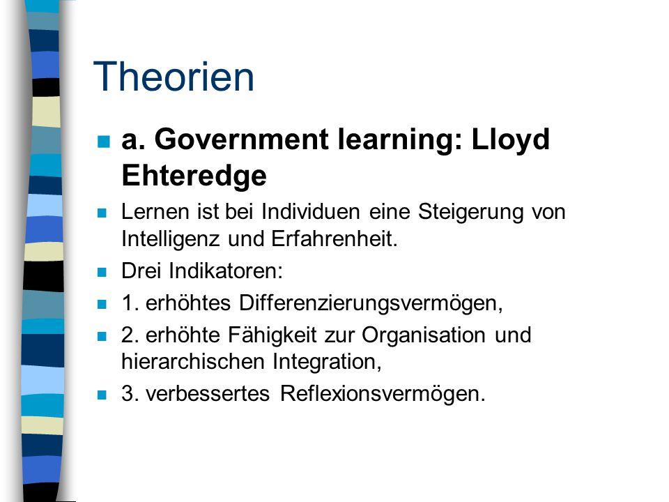Theorien n a. Government learning: Lloyd Ehteredge n Lernen ist bei Individuen eine Steigerung von Intelligenz und Erfahrenheit. n Drei Indikatoren: n