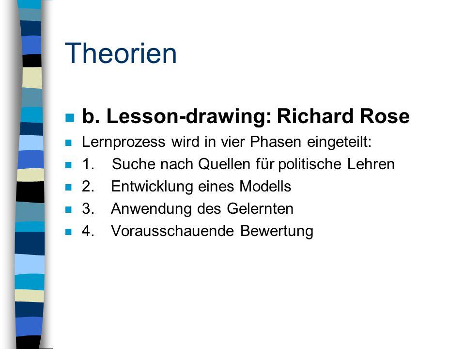 Theorien n b. Lesson-drawing: Richard Rose n Lernprozess wird in vier Phasen eingeteilt: n 1.