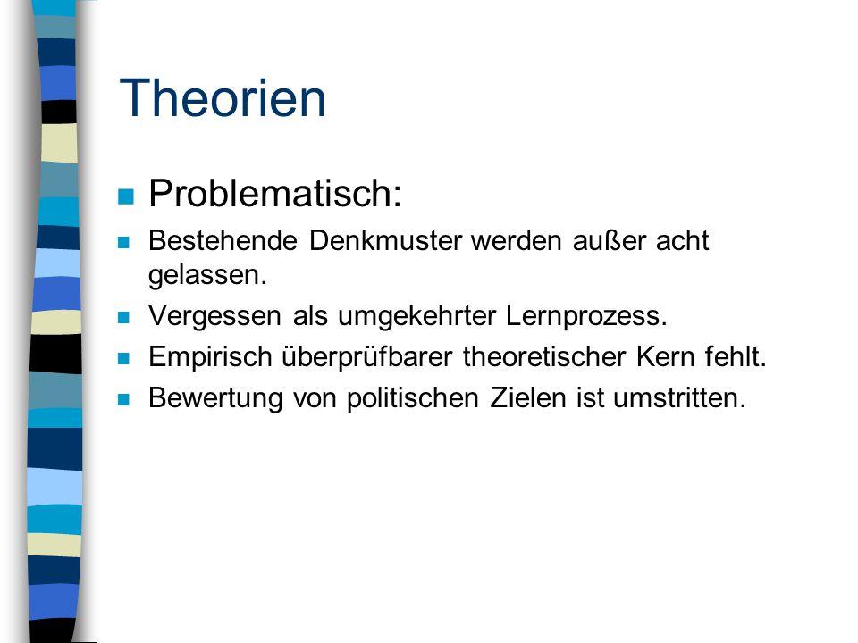 Theorien n Problematisch: n Bestehende Denkmuster werden außer acht gelassen.