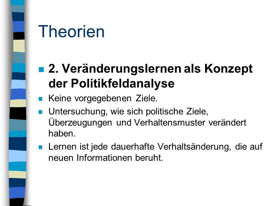 Theorien n 2. Veränderungslernen als Konzept der Politikfeldanalyse n Keine vorgegebenen Ziele.