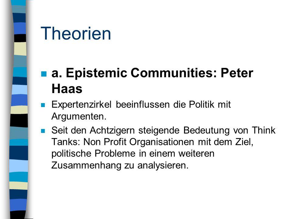 Theorien n a. Epistemic Communities: Peter Haas n Expertenzirkel beeinflussen die Politik mit Argumenten. n Seit den Achtzigern steigende Bedeutung vo