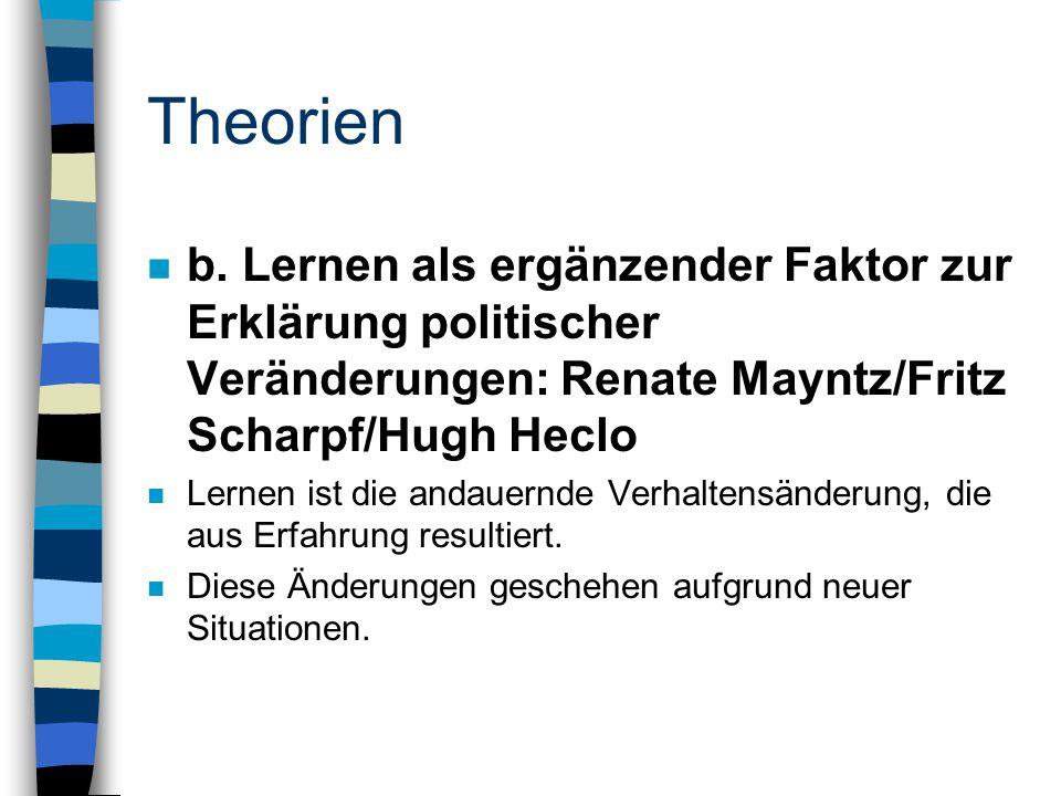 Theorien n b. Lernen als ergänzender Faktor zur Erklärung politischer Veränderungen: Renate Mayntz/Fritz Scharpf/Hugh Heclo n Lernen ist die andauernd