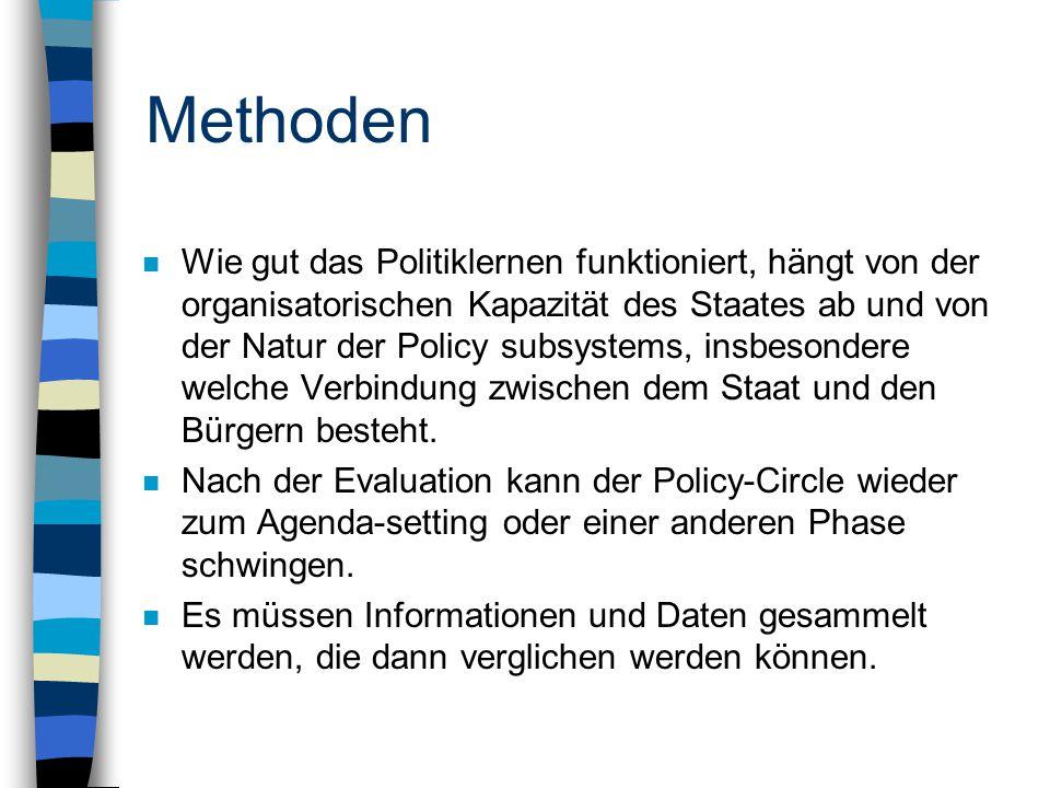 Methoden n Wie gut das Politiklernen funktioniert, hängt von der organisatorischen Kapazität des Staates ab und von der Natur der Policy subsystems, insbesondere welche Verbindung zwischen dem Staat und den Bürgern besteht.