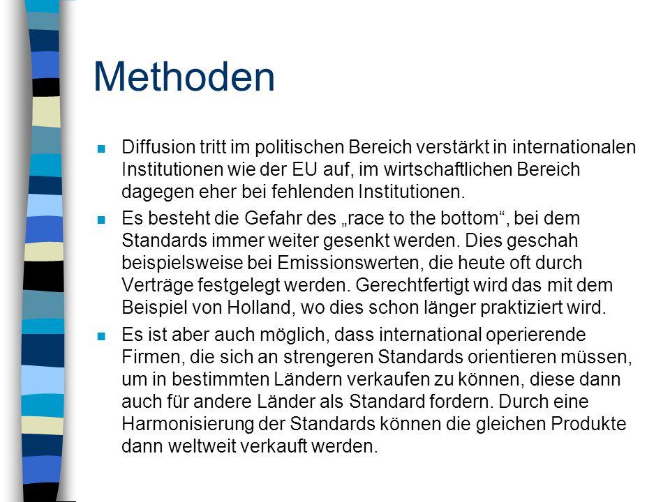 Methoden n Diffusion tritt im politischen Bereich verstärkt in internationalen Institutionen wie der EU auf, im wirtschaftlichen Bereich dagegen eher bei fehlenden Institutionen.