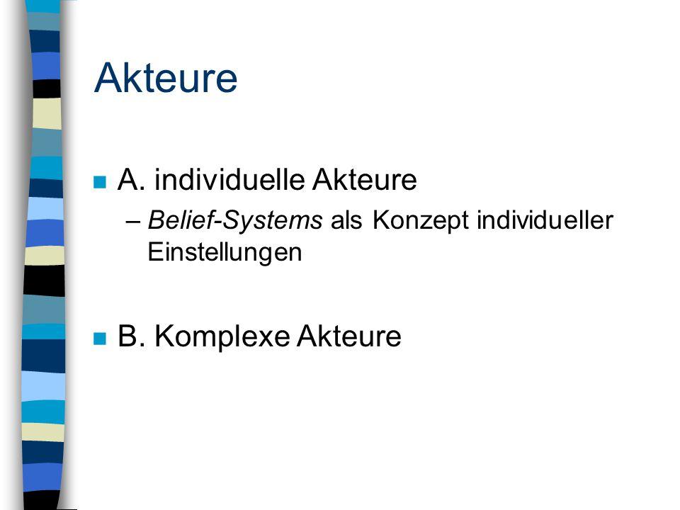 Akteure n A. individuelle Akteure –Belief-Systems als Konzept individueller Einstellungen n B.