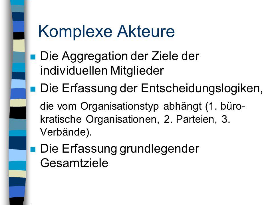 Komplexe Akteure n Die Aggregation der Ziele der individuellen Mitglieder n Die Erfassung der Entscheidungslogiken, die vom Organisationstyp abhängt (1.