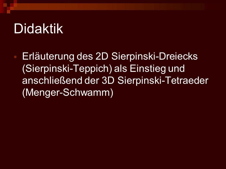 Didaktik  Erläuterung des 2D Sierpinski-Dreiecks (Sierpinski-Teppich) als Einstieg und anschließend der 3D Sierpinski-Tetraeder (Menger-Schwamm)