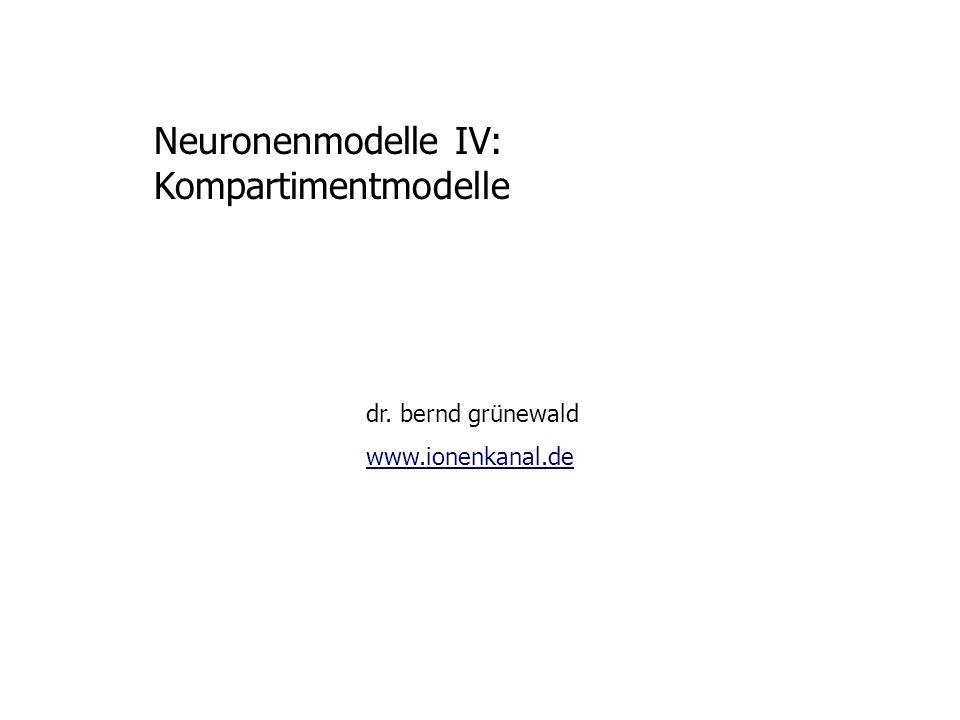 Neuronenmodelle IV: Kompartimentmodelle Inhalt der Vorlesung 1 Passive Membraneigenschaften 2 Kabelgleichung 3 Anwendungen
