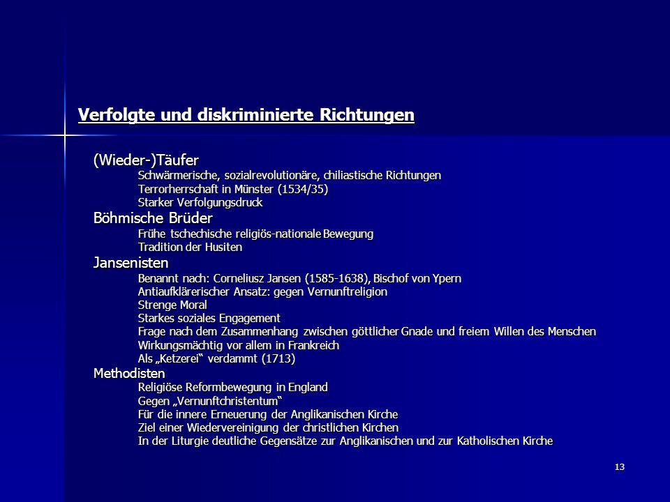 13 Verfolgte und diskriminierte Richtungen (Wieder-)Täufer Schwärmerische, sozialrevolutionäre, chiliastische Richtungen Terrorherrschaft in Münster (