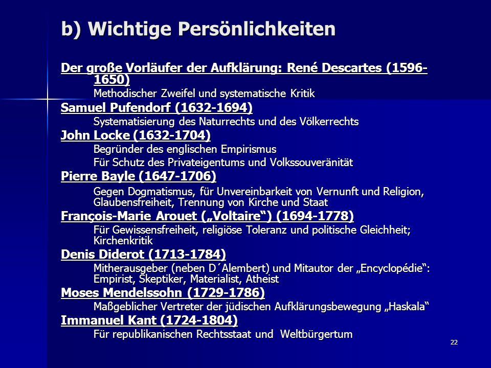 22 b) Wichtige Persönlichkeiten Der große Vorläufer der Aufklärung: René Descartes (1596- 1650) Methodischer Zweifel und systematische Kritik Samuel P