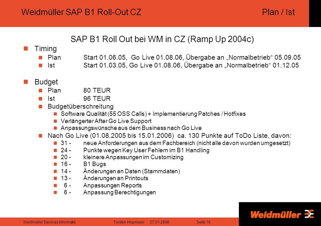 "Seite 16Weidmüller Services InformatikTorsten Hopmeier 27.01.2006 Weidmüller SAP B1 Roll-Out CZPlan / Ist SAP B1 Roll Out bei WM in CZ (Ramp Up 2004c) Timing PlanStart 01.06.05, Go Live 01.08.06, Übergabe an ""Normalbetrieb 05.09.05 IstStart 01.03.05, Go Live 01.08.06, Übergabe an ""Normalbetrieb 01.12.05 Budget Plan80 TEUR Ist96 TEUR Budgetüberschreitung Software Qualität (55 OSS Calls) + Implementierung Patches / Hotfixes Verlängerter After Go Live Support Anpassungswünsche aus dem Business nach Go Live Nach Go Live (01.08.2005 bis 15.01.2006) ca."