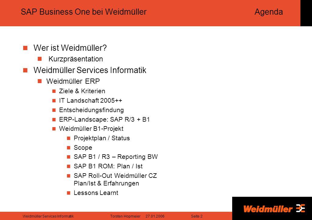 Seite 3Weidmüller Services InformatikTorsten Hopmeier 27.01.2006 Weidmüller Das Unternehmen entwickelt, produziert und vertreibt kundenorientierte Lösungen, die das gesamte Weidmüller-Produktportfolio umfassen.