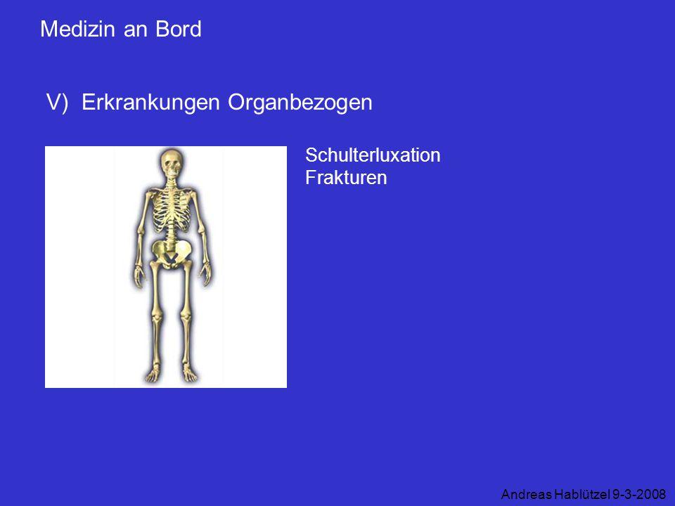 Medizin an Bord V) Erkrankungen Organbezogen Andreas Hablützel 9-3-2008 Schulterluxation Frakturen