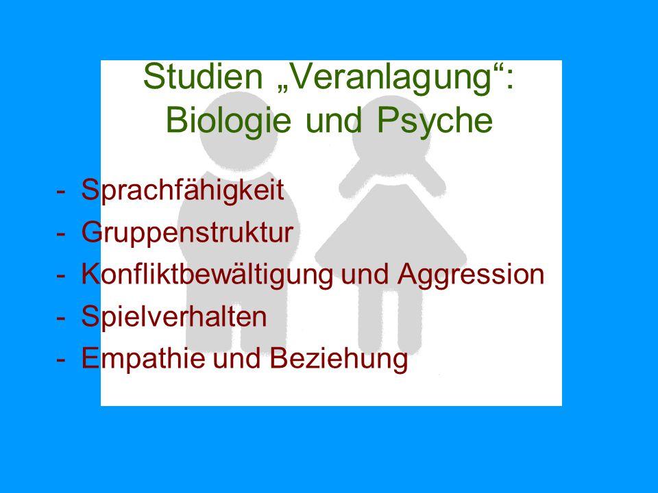 """Studien """"Veranlagung"""": Biologie und Psyche -Sprachfähigkeit -Gruppenstruktur -Konfliktbewältigung und Aggression -Spielverhalten -Empathie und Beziehu"""