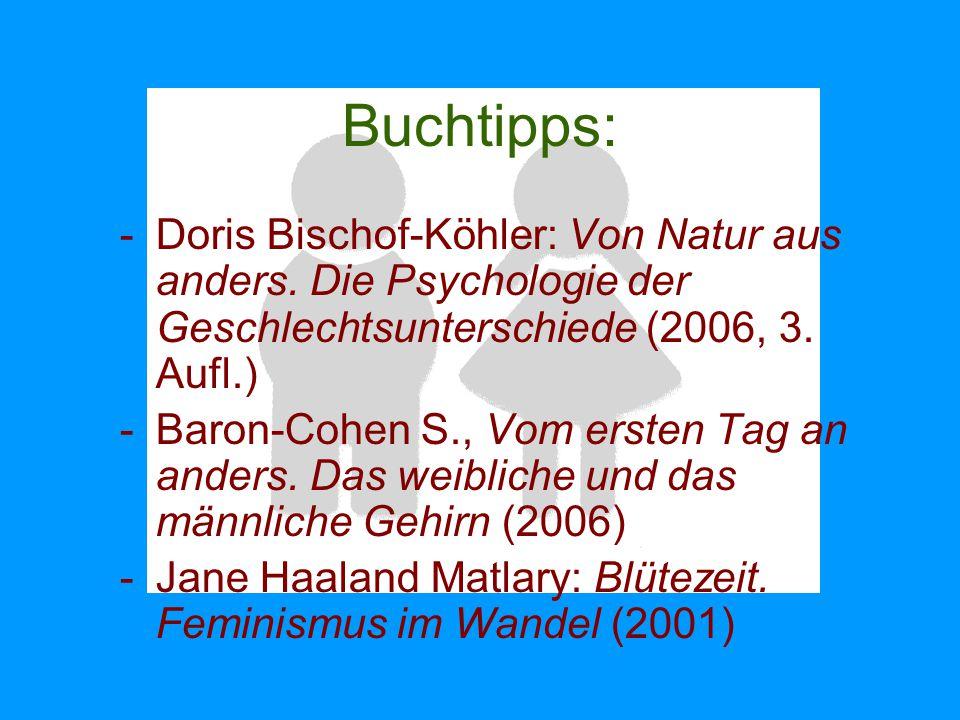 Buchtipps: -Doris Bischof-Köhler: Von Natur aus anders. Die Psychologie der Geschlechtsunterschiede (2006, 3. Aufl.) -Baron-Cohen S., Vom ersten Tag a
