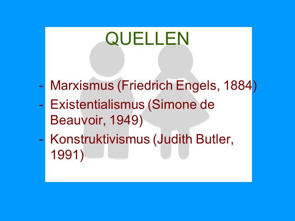 QUELLEN -Marxismus (Friedrich Engels, 1884) -Existentialismus (Simone de Beauvoir, 1949) -Konstruktivismus (Judith Butler, 1991)