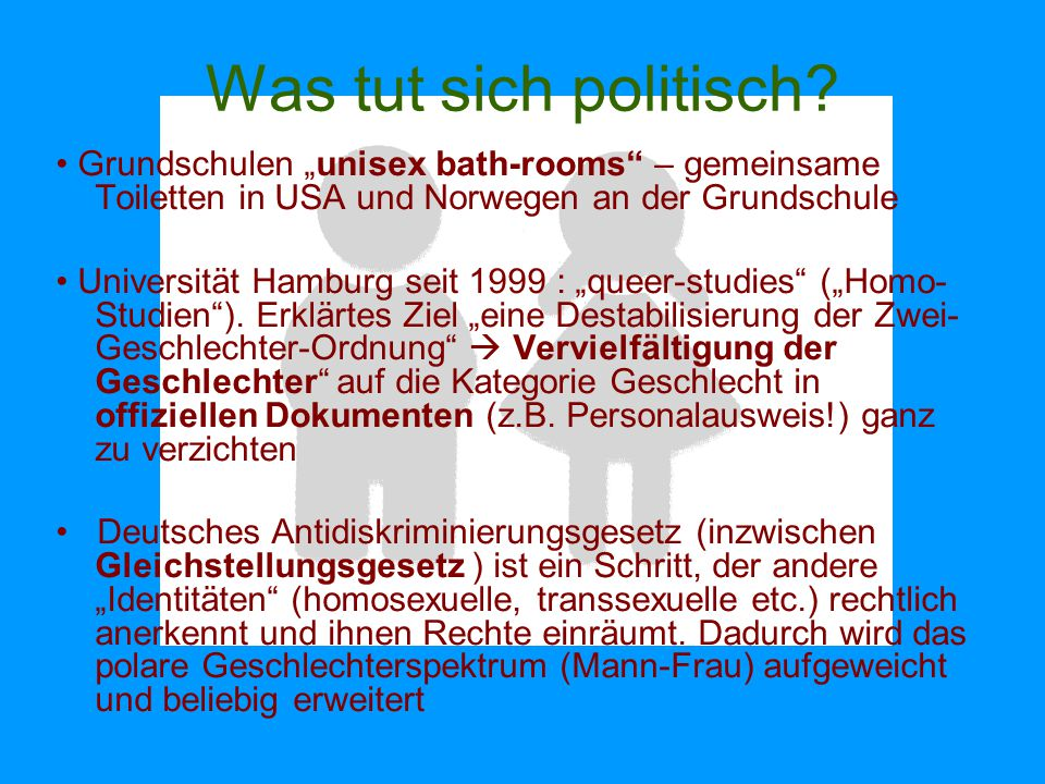 """Was tut sich politisch? Grundschulen """"unisex bath-rooms"""" – gemeinsame Toiletten in USA und Norwegen an der Grundschule Universität Hamburg seit 1999 :"""