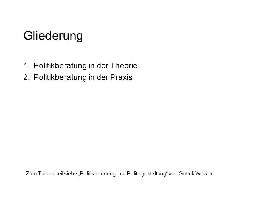 """Gliederung 1.Politikberatung in der Theorie 2.Politikberatung in der Praxis Zum Theorieteil siehe """"Politikberatung und Politikgestaltung von Göttrik Wewer"""