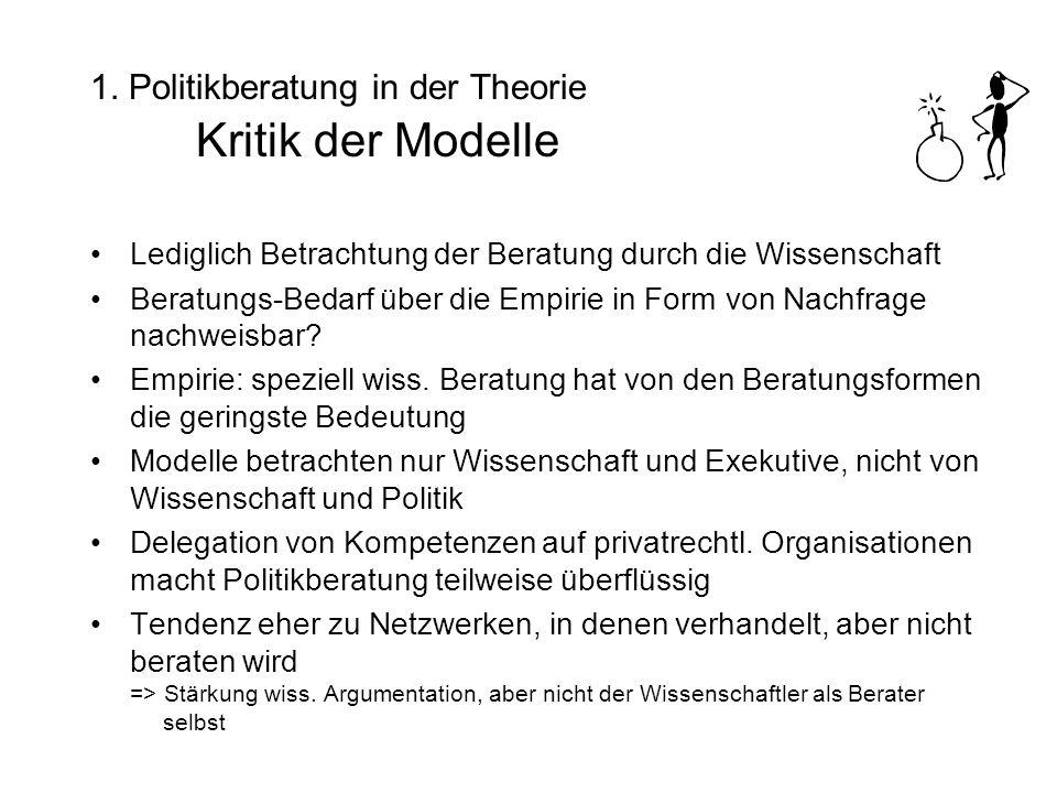 1. Politikberatung in der Theorie Kritik der Modelle Lediglich Betrachtung der Beratung durch die Wissenschaft Beratungs-Bedarf über die Empirie in Fo