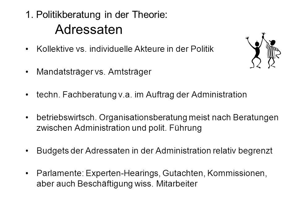 1. Politikberatung in der Theorie: Adressaten Kollektive vs.