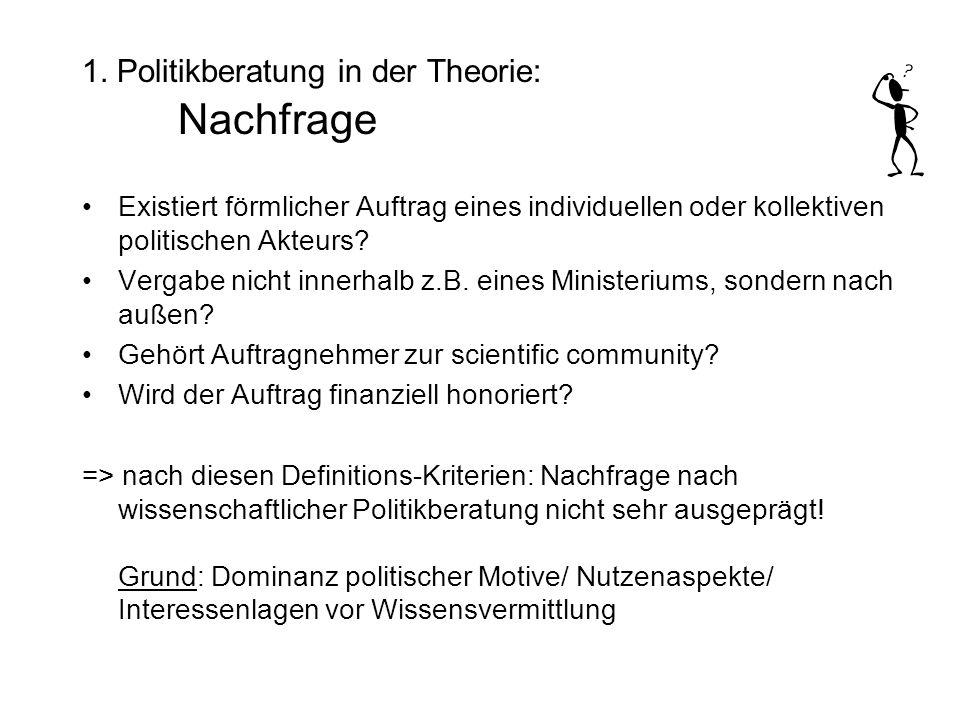 1. Politikberatung in der Theorie: Nachfrage Existiert förmlicher Auftrag eines individuellen oder kollektiven politischen Akteurs? Vergabe nicht inne