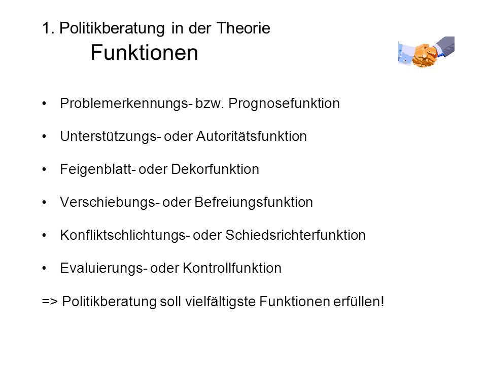1. Politikberatung in der Theorie Funktionen Problemerkennungs- bzw.