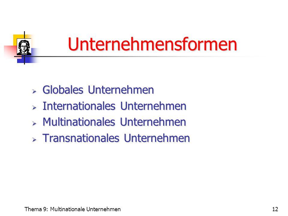 Thema 9: Multinationale Unternehmen12 Unternehmensformen  Globales Unternehmen  Internationales Unternehmen  Multinationales Unternehmen  Transnationales Unternehmen