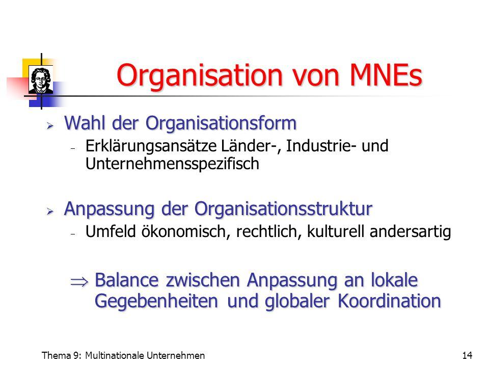 Thema 9: Multinationale Unternehmen14 Organisation von MNEs  Wahl der Organisationsform  Erklärungsansätze Länder-, Industrie- und Unternehmensspezifisch  Anpassung der Organisationsstruktur  Umfeld ökonomisch, rechtlich, kulturell andersartig  Balance zwischen Anpassung an lokale Gegebenheiten und globaler Koordination